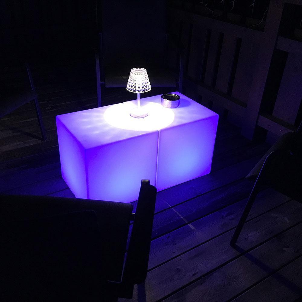 Cube lumineux pour table basse